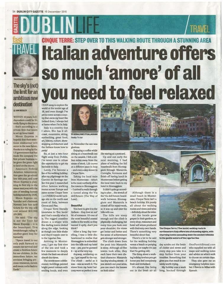 Cinque Terre for Dublin Gazette