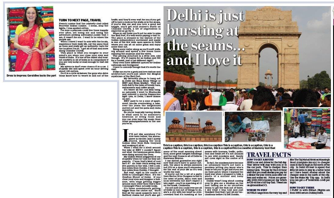 Delhi, full page Irish Daily Mail