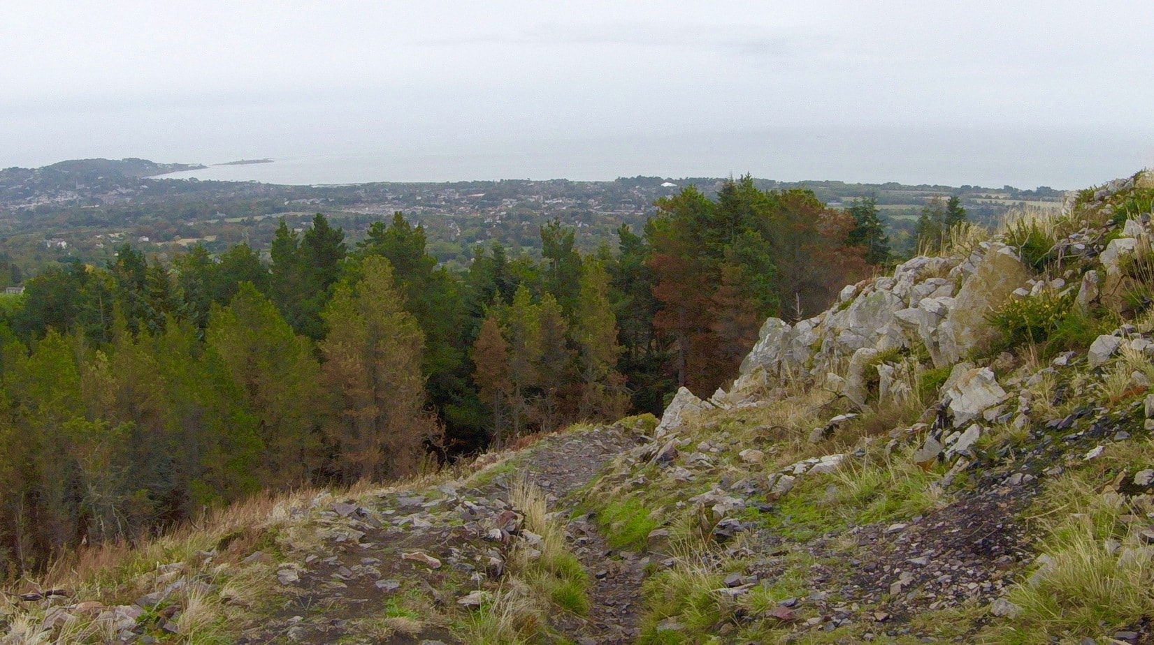 Views across Dublin Bay from Wicklow Mountains