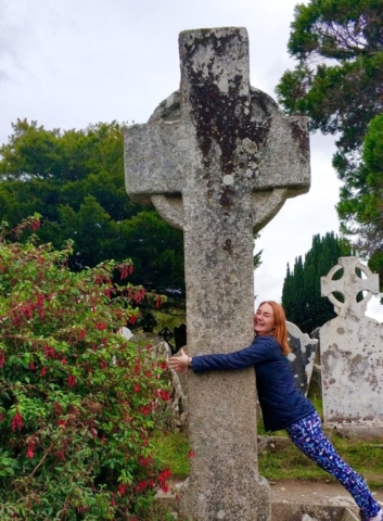 Celtic cross at Glendalough monastic village