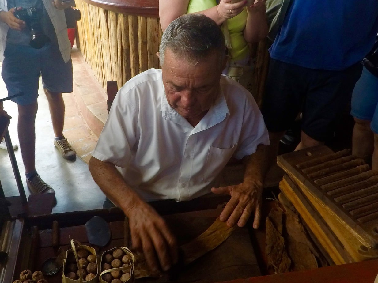 Hand rolling Cuban cigars
