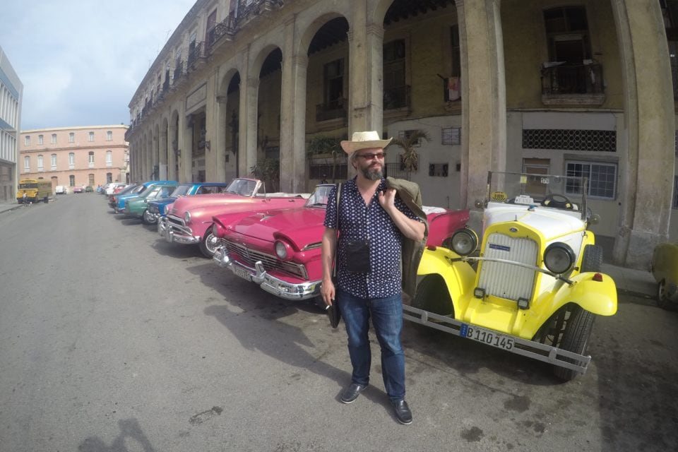 Cowboy with American Classic Cars of Cuba